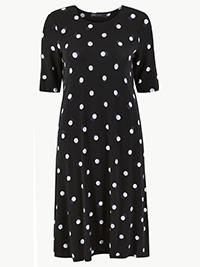 M&5 BLACK Polka Dot Jersey Swing Dress - Size 6 to 24