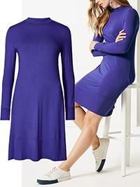 M&5 ULTRA-VIOLET Long Sleeve Jersey Swing Dress - Size 6 to 24