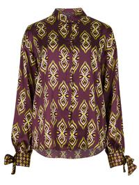 M&5 PURPLE Geo Print Tie Cuff Long Sleeve Shirt - Size 6 to 24