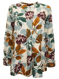 M&5 IVORY Leaf Print Long Sleeve Shirt - Size 20