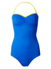 M&5 BLUE Colour Block Secret Slimming Bandeau Swimsuit - Size 10 to 16