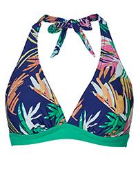 M&5 NAVY/GREEN Palm Print Plunge Bikini Top - Size 8 to 24