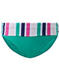 M&5 GREEN Striped Roll Top Bikini Bottoms - Size 6 to 24