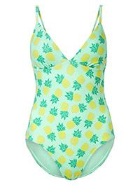 M&5 AQUA Secret Slimming Printed Plunge Swimsuit - Size 6 to 12