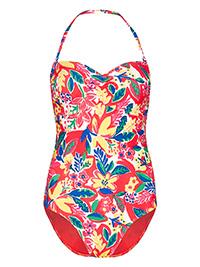 M&5 PINK Secret Slimming Printed Bandeau Swimsuit - Size 24