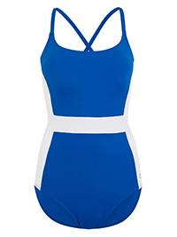 M&5 BLUE Color Block Scoop Neck Swimsuit - Size 6 to 24
