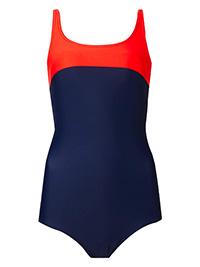 M&5 BLUE Secret Slimming Top Panel Swimsuit - Plus Size 16 to 22
