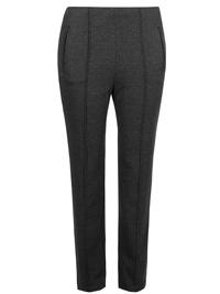 M&5 GREY Zigzag Ponte Straight Leg Trousers - Size 18
