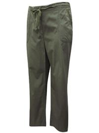 M&5 KHAKI Pure Cotton Straight Leg Trousers - Size 18