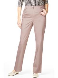 M&5 DARK-BEIGE Cotton Rich Straight Leg Trousers - Size 10 to 22