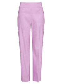 M&5 LILAC Linen Blend Straight Leg Trousers - Plus Size 18 to 20