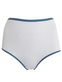 M&5 WHITE Contrast Trim No VPL Microfibre Full Brief Knickers - Size 8 to 26