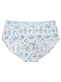 M&5 WHITE Pure Cotton Floral Print Low Rise Shorts - Size 12