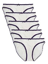M&5 IVORY 5-Pack Pure Cotton Bikini Knickers - Size 6