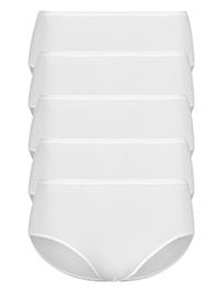 M&5 WHITE 5-Pack No VPL Microfibre High Rise Midi Knickers - Size 6 to 22