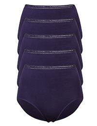 M&5 PURPLE 5-Pack High Waist Modal Blend No VPL Full Briefs - Size 6 to 26