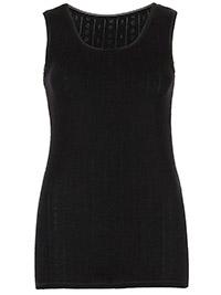 M&5 BLACK 2-Pack Thermal Pointelle Built Up Shoulder Vests - Size 6 to 22