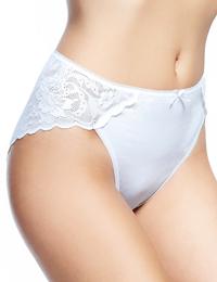 IRREGULAR - M&5 WHITE Lace Wrap High Leg Knickers - Size 6 to 20