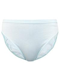 M&5 MINT Striped Mesh Waist No VPL Modal Cotton Striped High Leg Knickers - Size 6 to 12