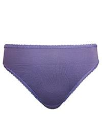 M&5 LILAC Cotton Rich High Leg Knickers - Plus Size 18 to 20