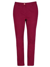 P3rUna PLUM Cotton Rich Soft Touch Slim Leg Trousers - Size 12 to 18