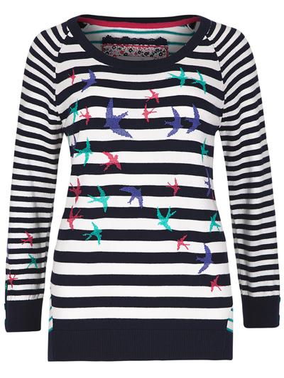 M&5 P3rUna Navy Mix Nautical Striped & Bird Print Knitted Jumper - Size 8 to 24
