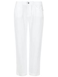 M&5 WHITE Pure Linen Boyfriend Straight Leg Trousers - Size 10