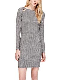 M&5 BLACK MIX Cotton Rich Cut-Out Column Dress - Size 8 to 16