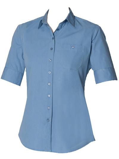 Henbury BLUE Short Sleeve Plain Poplin Shirt - UK Size 10 to 18 (Small to XXLarge)