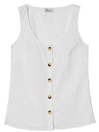 FatFace WHITE Tia Broderie Button Cami - Size 6 to 16