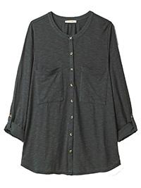WH1TE STUFF STEEL-GREY Lou Lou Organic Cotton Jersey Shirt - Size 8 to 22