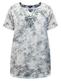 ULLA POPK3N GREY Mixed Media Embroidered Batik Print Top - Plus Size 16/18 to 36/38