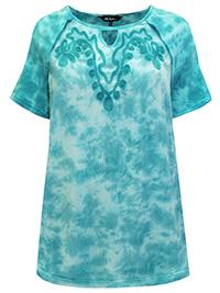 ULLA POPK3N CARIBBEAN-GREEN Mixed Fabric Embroidered Batik Print Top - Plus Size 16/18 to 36/38