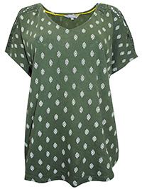 Principles DARK-GREEN Pure Cotton Printed Crochet Shoulder Top - Size 10 to 26