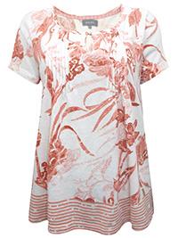 Principles IVORY Linen Blend Border Print Pintuck Top - Plus Size 12 to 20