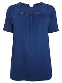 Mia Moda NAVY Modal Blend Broderie Anglaise Short Sleeve Top - Plus Size 22 to 34 (EU 50 to 62)