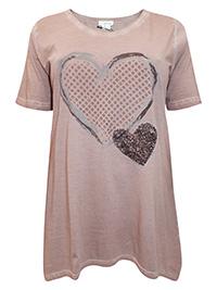 Mia Moda MOCHA Pure Cotton Sequin Embellished Heart Top - Plus Size 18 to 34 (EU 46 to 62)