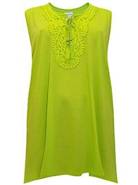 Mia Moda NEON-YELLOW Pure Cotton Lace Border Short Sleeve Top - Plus Size 36 (EU 64)
