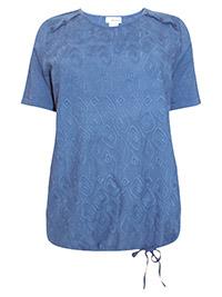 Mia Moda NAVY Pure Cotton Button Shoulder Embroidered Tie Hem Top - Plus Size 16 to 18 (EU 44 to 46)