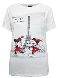 Disney WHITE Pure Cotton Festive Mickey & Minnie Mouse in Paris Tee - Plus Size 12 to 22 (S to XXXL)