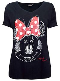 Disney BLACK Pure Cotton Sketched Minnie Mouse Tee - Plus Size 12 to 22 (S to XXXL)
