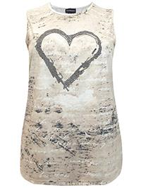 Mia Moda STONE Cotton Rich Sleeveless Embellished Heart Top - Plus Size 22 to 32 (EU 50 to 60)