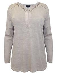 Mia Moda MOCHA Pure Cotton Contrast Embroidered Long Sleeve Top - Plus Size 16 (EU 44)