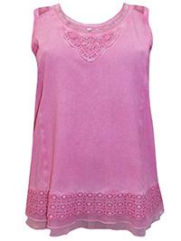 Mia Moda PINK Sleeveless Mesh & Crochet Trim Embellished Jersey Top - Plus Size 16 to 36 (EU 44 to 64)
