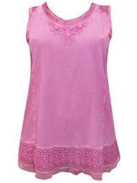 Mia Moda PINK Sleeveless Mesh & Crochet Trim Jersey Top - Plus Size 20 to 36 (EU 48 to 64)