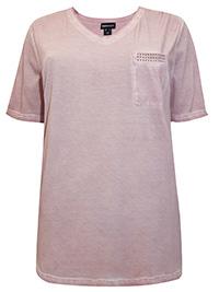 Mia Moda PINK Pure Cotton Embellished Pocket Tee - Plus Size 26 (EU 54)
