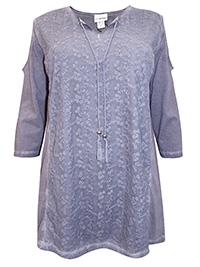 Mia Moda DARK-PURPLE Pure Cotton Embroidered Cold Shoulder Top - Plus Size 18 to 36 (EU 46 to 64)
