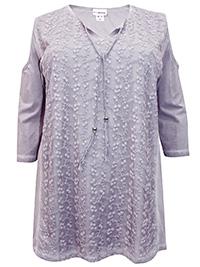 Mia Moda PURPLE Pure Cotton Embroidered Cold Shoulder Top - Plus Size 22 to 36 (EU 50 to 64)