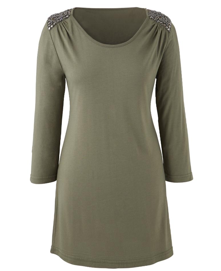 Marisota KHAKI Embellished Jersey Tunic - Plus Size 14 to 32
