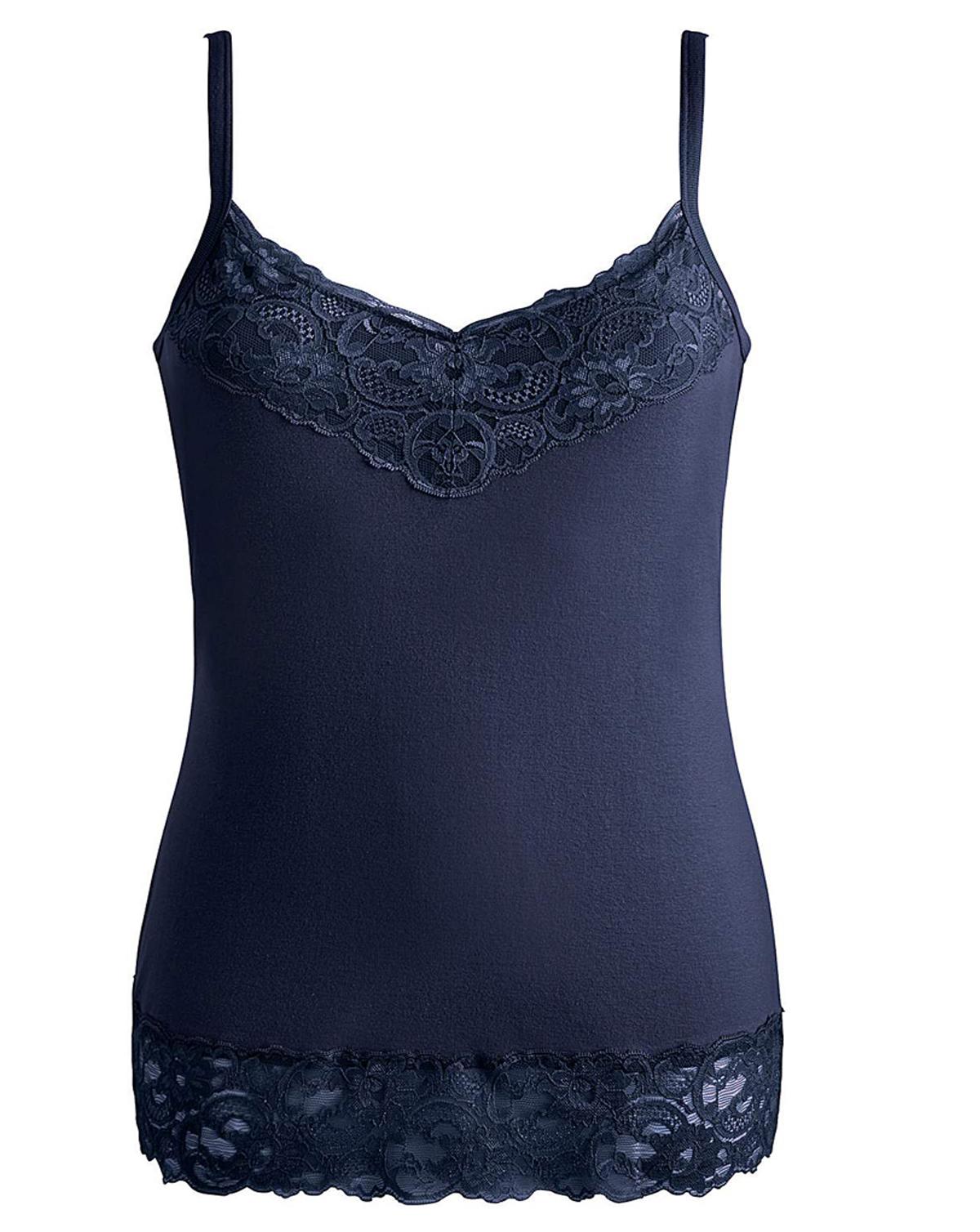 Joanna Hope NAVY Lace Trim Jersey Vest - Size 10 to 32